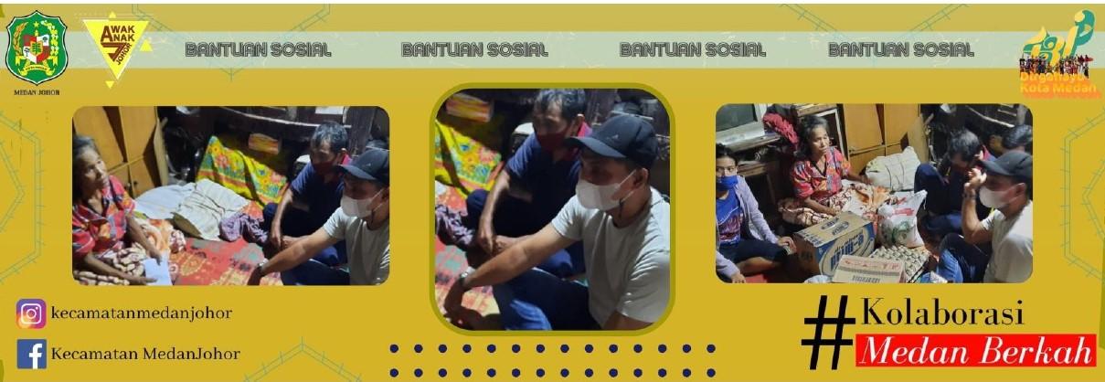 Camat Medan Johor Memberikan Bantuan Kepada masyarakat tidak mampu di lingkungan X kelurahan Kwala Bekala.
