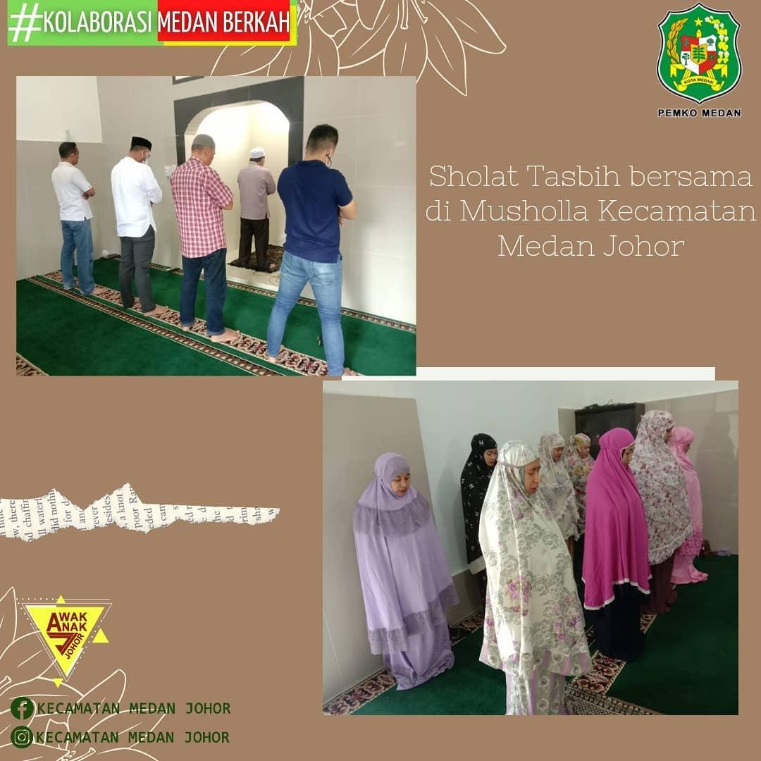 Dalam upaya meningkatkan ibadah di Bulan Suci Ramadhan, Kecamatan Medan Johor melaksanakan Sholat Sunnah Tasbih Jumat 16/4/2021 di Mushollah Kecamatan Medan Johor yang diikuti oleh Camat Medan Johor dan Jajaran Kecamatan Meda
