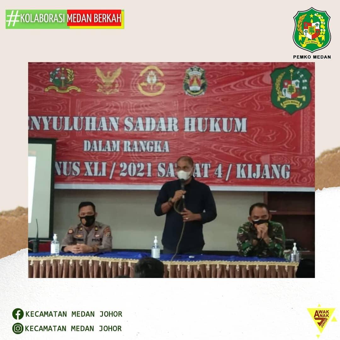 Bapak Camat Medan Johor Zulfakhri Ahmadi, S. Sos menyambut kedatangan peserta Latihan Integritas Taruna Wreda Nusantara (Latsitardanus) XLI /2021 SATLAT 4/Kijang Taruna Polri dan TNI